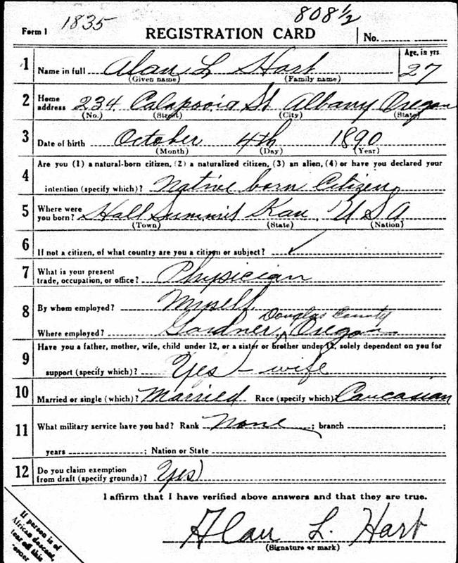 Alan Hart Draft Registration Card