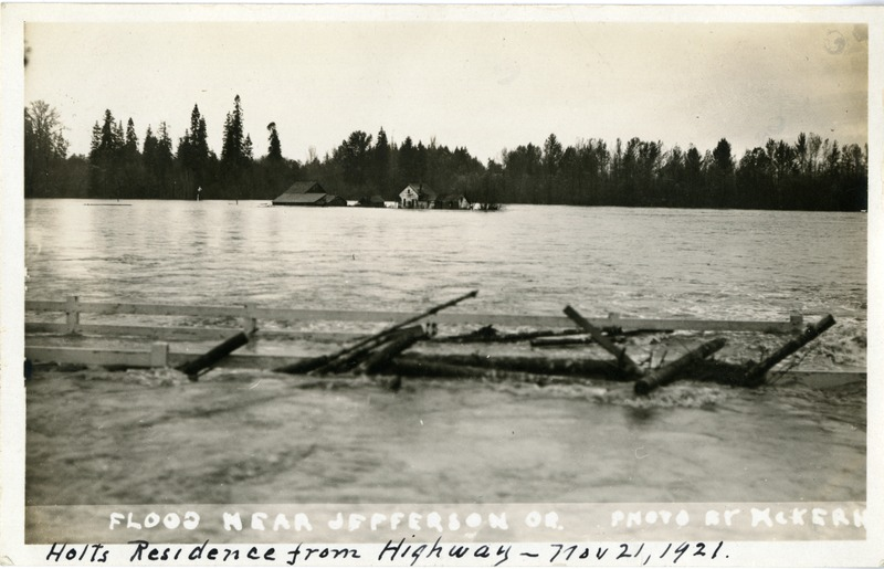 """Holts Residence from Highway"" during the flood near Jefferson, Oregon."