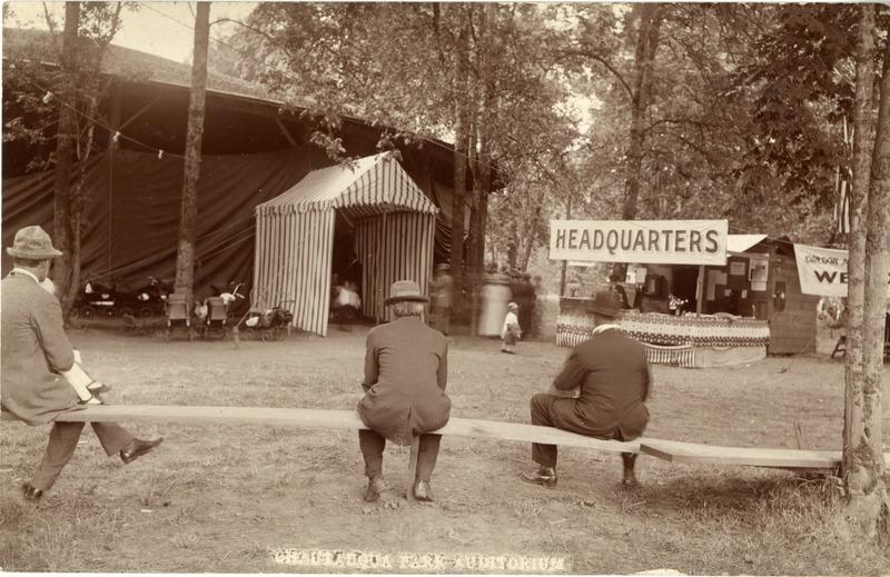 The Chautauqua festival tent entrance in Albany, Oregon.
