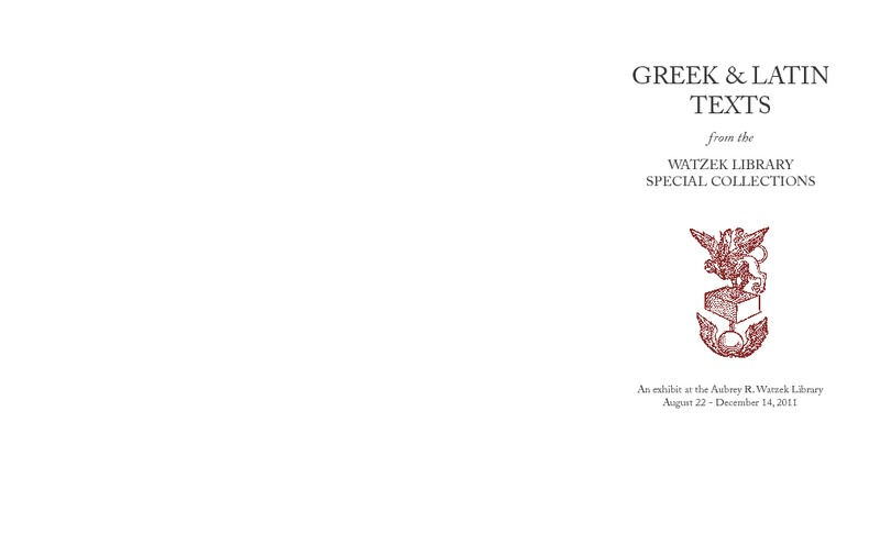 Greek & Latin Texts from the Watzek Library Special Collections