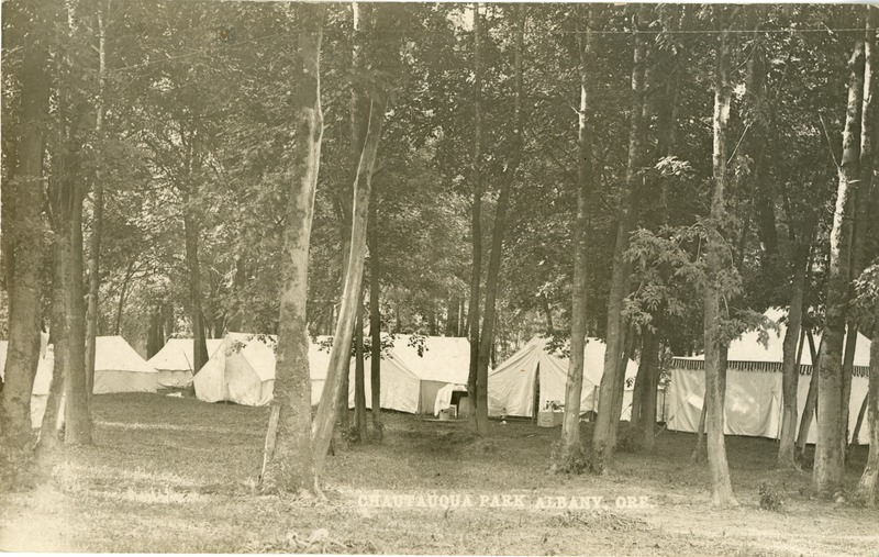 The tents at the Chautauqua festival in Albany, Oregon.