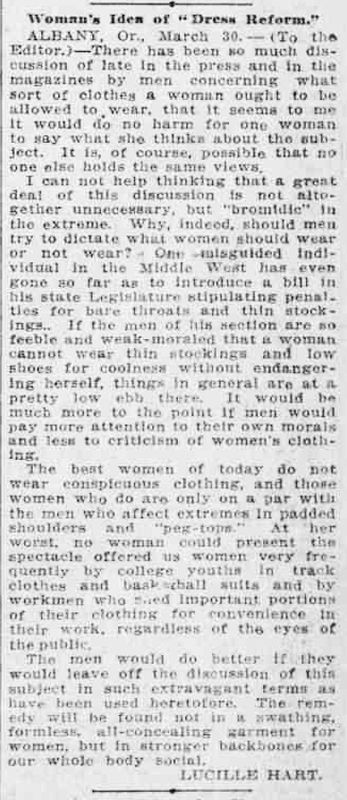 "Lucille Hart: ""Woman's Idea of Dress Reform"""