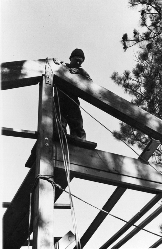 William Stafford building a house at Sisters, Oregon