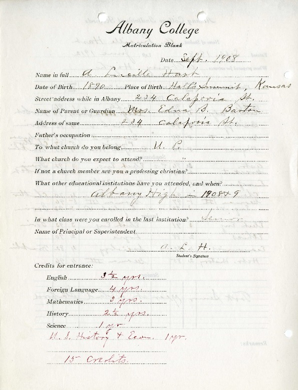 Lucille Hart's Albany College Transcript
