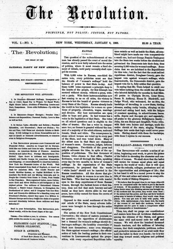First page of the first issue of <em>The Revolution</em>