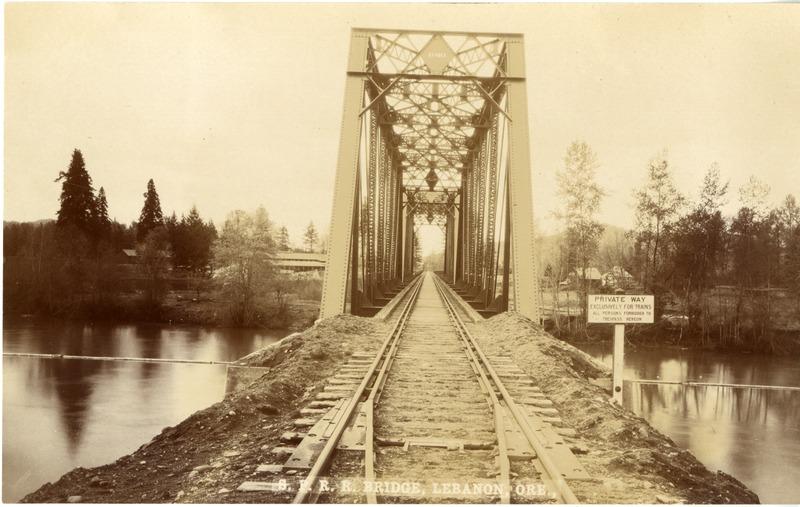 Southern Pacific Railroad bridge in Lebanon, Oregon.