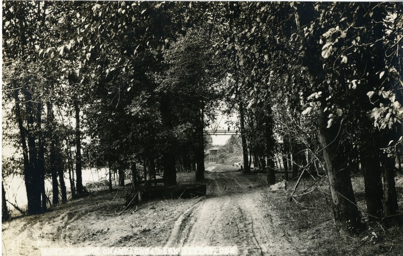 A dirt road in the Chautauqua festival grounds in Albany, Oregon.